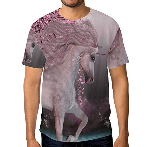 T-Shirt für Männer Jungen Sakura Cherry Blossom Unicorn Lake Benutzerdefinierte Kurzarm -