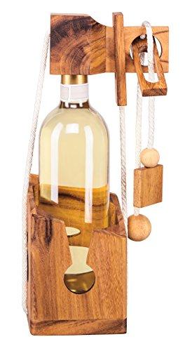 Zederello Puzzle de Bouteille en Bois Noble, Coffre à Bouteilles, Coffret à Bouteilles, Jeu cérébral, Jeu de devinettes pour Bouteille de vin, très Difficile