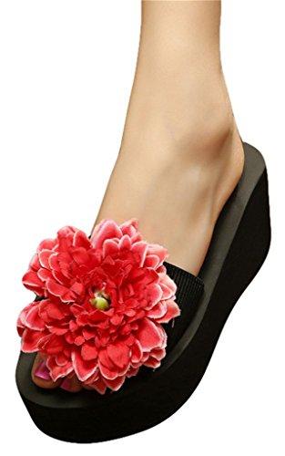 Good Night Pantoufles de sandales de plage de ruban élastique de plate-forme avec la grande fleur Rouge