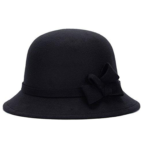 Bodhi2000® Damen Eleganter Retro Bowler Hut Weiche florale Fedora Bucket Cap (Retro Damen Bowler)