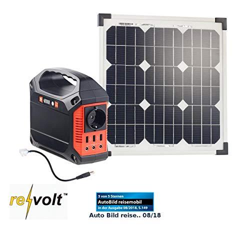 reVolt Solaranlage: Solar-Generator & Powerbank mit 20-W-Solarzelle & Anschlusskabel, 42Ah (Mobile Steckdose)