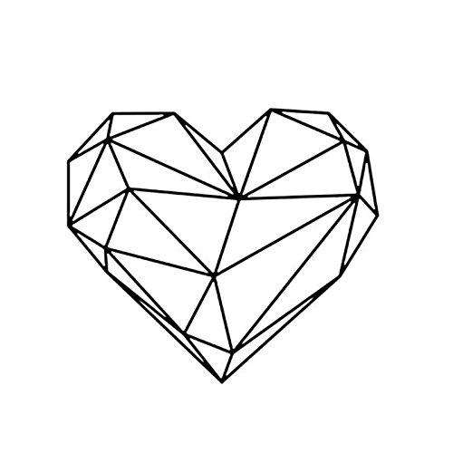 Kicode Estilo escandinavo Negro Geométrico Corazón Etiqueta de la Pared de PVC Desmontable Decoración de la casa Decoración de la Sala de Estar Arte Wallpaper Dormitorio Mural Decal