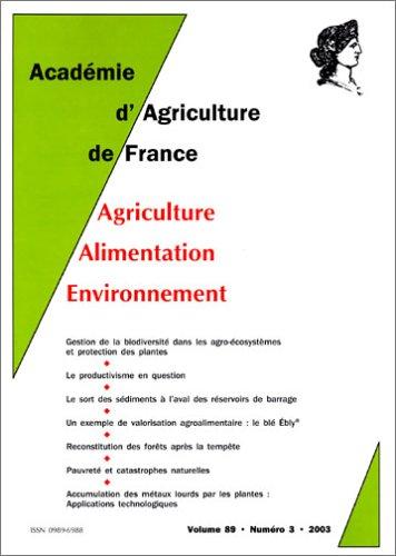 Agriculture - Alimentation - Environnement, volume 89, numéro 3-2003