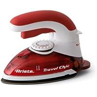 Ariete 6224 - Plancha a vapor de viaje, 800 W, mango flexible para planchado vertical, color rojo