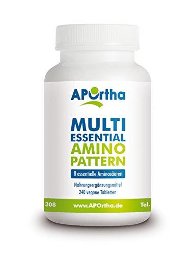 APOrtha Multi essential Amino Pattern | 8 verschiedene Aminosäuren | 240 Tabletten | vegan