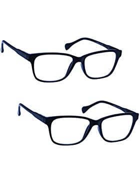 UV Reader Navy Blue Lightweight Reading Glasses Value Designer Style Mens Womens Inc Case UVR2PK027 Strength +...