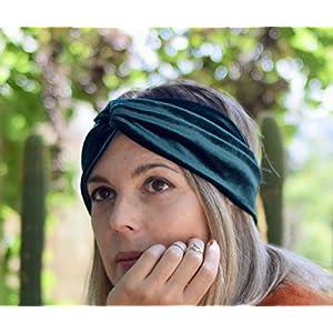 Dunkelgrünes Samt Turban Stirnband für dame