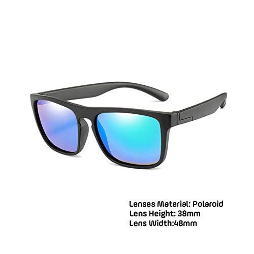 Sportbrillen, Angeln Golfbrille,Children Square Polarisiert Sunglasses Kids Silicone Safe TR90 Sun Glasses Girls Boys UV400 Coating Mirror Gafas De Sol black green