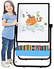 Arkmiido Kids Double-Sided Height Adjustable & 360° Rotating Drawing Black and White Board (Black)
