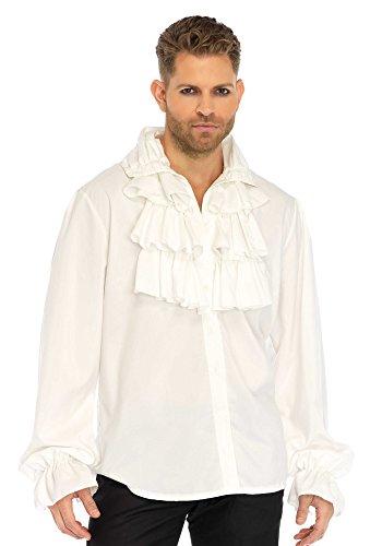 Leg Avenue 86688 Ruffle Front Shirt Kostüm, Weiß, Medium (EUR 38) (Rüschen Knopf-manschette Bluse -)