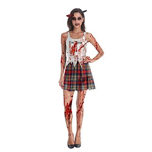 Hot Zombie Kostüm - Damen Zombie Kostüm Kleid Halloween Cosplay Kleider Piebo Frauen Vintage Ärmelloses Minikleid Bodycon Dress Cocktail Bloodstain Drucken Oktoberfest Weihnachten Festliche Karneval Partykleid