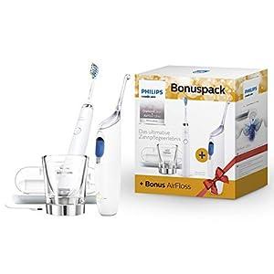 Philips Sonicare Bonuspack HX8492/01 – Schallzahnbürste DiamondClean & AirFloss Ultra Zahnzwischenraumreiniger, Weiß