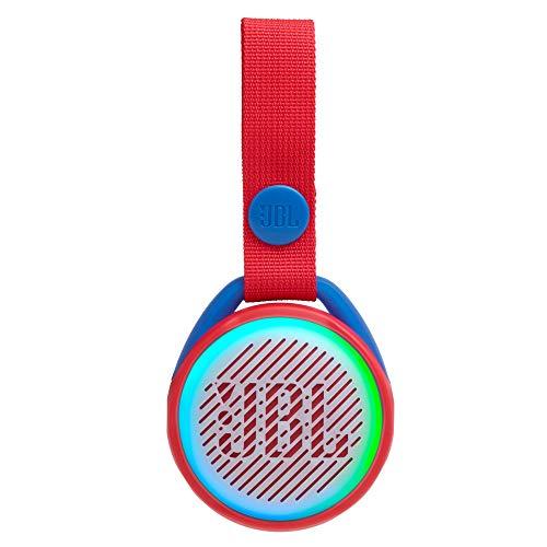 JBL JR Pop Mini-Boombox für Kids in Rot - Poppiger, wasserdichter Bluetooth-Lautsprecher mit eingebauten Lichtmotiven - Bis zu 5 Stunden Musik hören mit nur einer Akku-Ladung