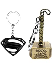 Mist Marvel Avengers Thor Captain America Silver Keychains and Key Rings Combo (Pack of 2)