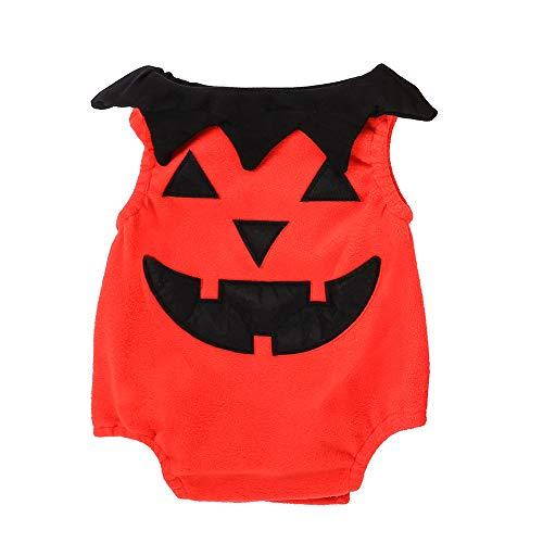 Riou Kinder Langarm Halloween Kostüm Top Set Baby Kleidung Set Neugeborenes Baby Striped Monster Strampler Halloween Outfits Kostüm Set (90, Orange)