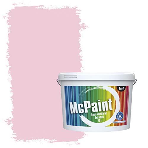 McPaint Bunte Wandfarbe extramatt für Innen Babyrosa 10 Liter - Weitere Violette Farbtöne Erhältlich - Weitere Größen Verfügbar