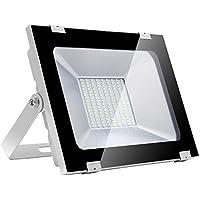 100w Foco Proyector LED de Luz Blanca para Exteriores, IP65 de lo Impermeable, aluminio extruido de aviación(cuerpo) + vidrio(máscara), 144 Pcs SMD2835 LED Bombillas, 8000lm