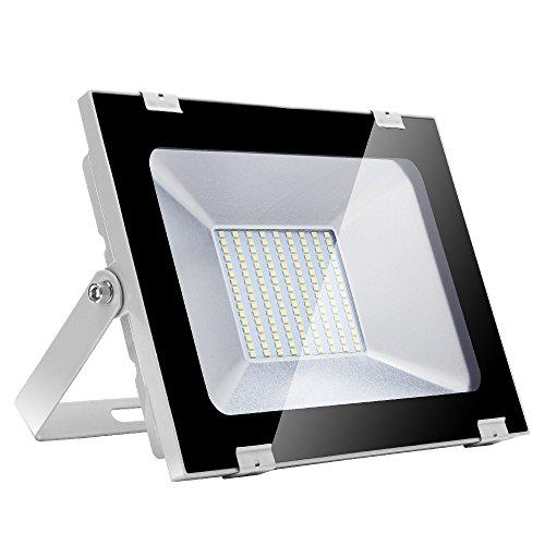 100w Foco led exterior,Led Proyector para Exterior Iluminación Decoración alto brillo 10000LM IP 65,6000K blanco Cálido,luz led para Jardín, Garaje, Bodega y Patio (Blanco frío, 100W)