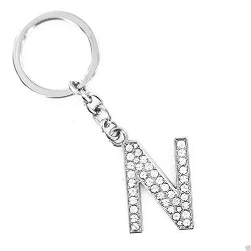 Bling Stars Schlüsselanhänger Alphabet, 26 englische Buchstaben, Glitzersteine, Strasssteine, Anhänger mit Initialen, N
