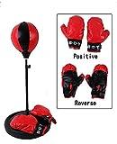 Yosoo Pera de Velocidad para Niños Juego de boxeo con Guantes y Soporte Ajustable Altura 70 - 105 cm Negro y Rojo
