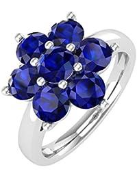 10K Gold Blue Sapphire Star Form Engagement Ring (11/2Karat)