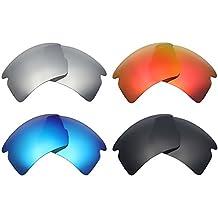 Mry 4paires polarisées Lentilles de remplacement pour Oakley Flak 2.0XL Sunglasses-stealth Noir/rouge Feu/ICE Bleu/argent Titane q4TQPuxam