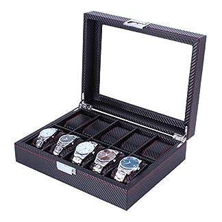 Reloj caja de almacenamiento de joyas vitrina Handmade 10 Grid Watch Jewel Box Almacenamiento de pantalla con tapa de cristal transparente Es el regalo ideal para el cumpleaños de San Valen