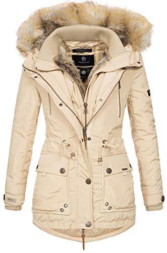 Marikoo Damen Winterjacke Kapuze Kunstfell Winter Jacke warm lang B617 [B617-Grinse-Beige-Gr.XL] -