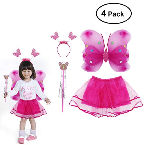 BESTOYARD Winkel Mädchen Fee Kostüme Set mit Flügeln Stirnband Zauberstab Tutu Rock Set Schmetterling Fee Prinzessin Kostüm 4 Teile/Satz (Rose Red)