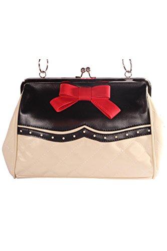 SugarShock 50er rockabilly Budapester retro Schleife Kisslock Bow Handtasche - 2