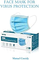 face mask for virus protection: Disposable 3 Ply Safety Face Mask for Protection - with Nanofiber Filter Lining - and...