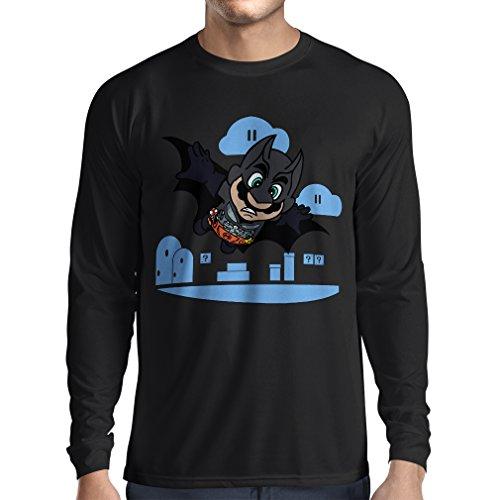 N4328L T-Shirt mit Langen Ärmeln Superheld ! (Medium Schwarz Mehrfarben)