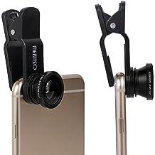 MEMTEQ® Lente de Móvil 5 en 1 Lente Ojo de Pez +Super Angular (180º)+Polarizado+Wide+Macro para Teléfonos Moviles iPhone 6, 6+, 5, 5C, 5S, 4, 4s Samsung Galaxy S5, S4, S3 iPad 2, 3, 4, Air etc, Color Negro