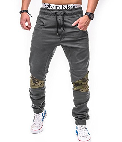 BetterStylz DixonBZ Chino Jogger Harem Style Jogginghose Trainingshose Camouflage Tarn Muster in div. Farben (S-XXL) (Large, Grau/Camouflage)
