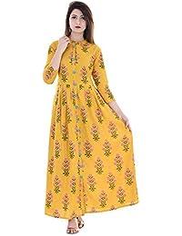 Stylum Women's Cotton Block Print Flared Kurti (Yellow)