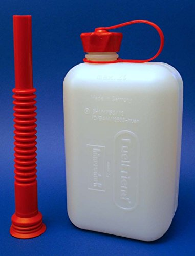 Preisvergleich Produktbild FuelFriend® BIG CLEAR max. 2,0 Liter Klein-Benzinkanister Mini-Reservekanister mit Füllrohr