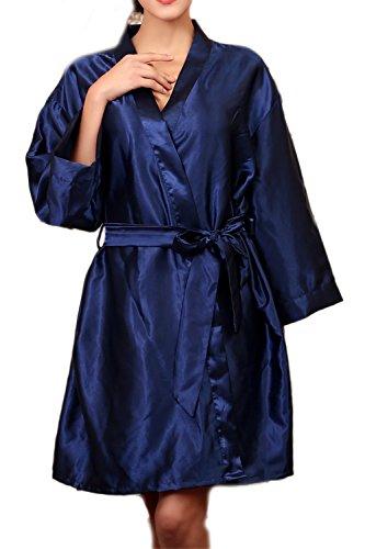 Kimono robe Satin soie Nightwear des femmes Navy