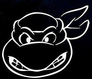 SUPERSTICKI® Ninja Turtle Aufkleber Decal Hintergrund/Maße in Inch Vinyl Sticker|Cars Trucks Vans Walls Laptop| WHITE |5.5 x 4.75 - Hintergrund Turtle Ninja