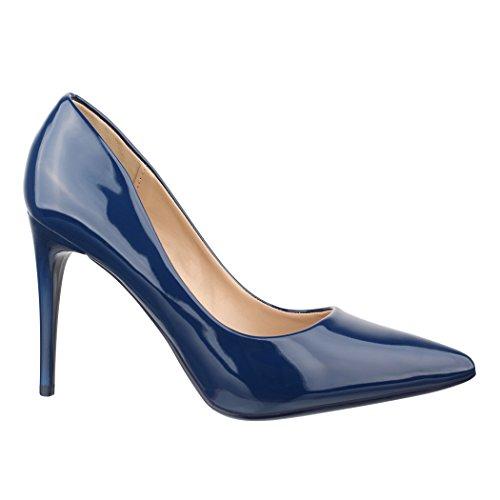 Elara Damen Pumps spitz | Moderne High Heels | Bequeme Lack Stilettos | Chunkyrayan B-80 Blue-41 High Stiletto Heel