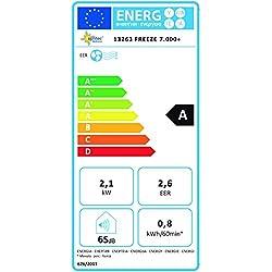 Suntec Wellness 13263 KLIMATRONIC FREEZE 7.000+ - Climatiseur mobile [pour volumes de max. 60 m³ (~25 m²), refroidissement + déshumidification, 7000 BTU/h, classe d'efficacité énergétique A], Blanc