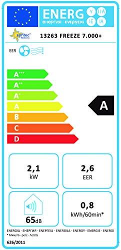 SUNTEC FREEZE 7.000+ 65dB 880W Blanco - Aire acondicionado portátil (A, 0,8 kWh, 880 W, 220-240, Blanco, LCD)