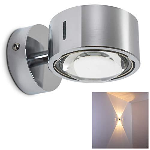 Wandleuchte Sapri halbrund mit Effekt-Schlitzen an den Seiten - verchromte Metall-Lampe mit Glas-Linsen - LED oder Eco-Halogen-Lampe für Wohnzimmer, Diele, Flur oder Küche
