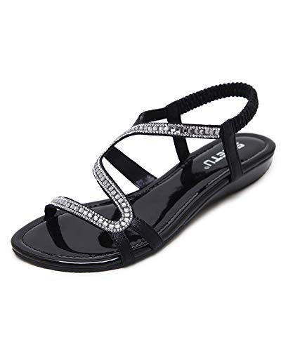 Antiscivolo donna estate boemia punta della clip sandali strass perline piatti scarpe piatto infradito pantofole casual scarpe da spiaggia da donne nero eu 42