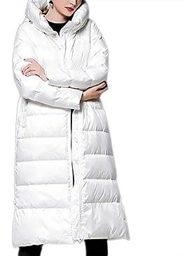 Las señoras de las mujeres que espesan la chaqueta Larga outwear abrigo de algodón con capucha cremallera sobre...