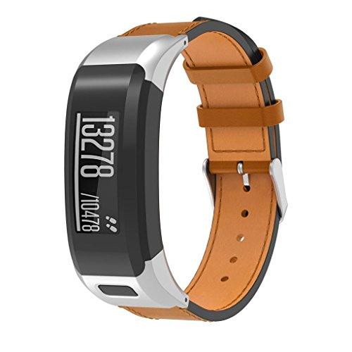 IGEMY Armband für Garmin Vivo Smart HR - Luxus Leder Ersatzarmband (Silber)
