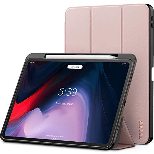 Infiland iPad Pro 11 Zoll 2018 Hülle mit Apple Pencil Halter, Smart TPU Schräges Tuch Schutzhülle Tasche mit Auto Schlaf/Wach Funktion (Unterstützt Das Aufladen des Apple Pencil),Rosa Goldene (Tuch, Ipad Tasche)