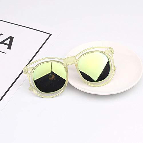 CYCY 2-9 Jahre alt Kinder Brille Sonnenbrille Jungen und Mädchen Sonnenbrille Anti-UV-Brille Baby Sonnenbrille Flut Puder Rahmen lila, transparenter Rahmen Gold Linse Paket 4 einzelne Gläser nackt