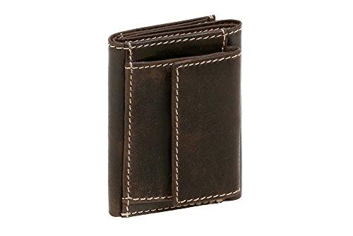 LEAS Mini Geldbörse kleines Portemonaie mit Geschenkbox Echt-Büffel-Leder, braun Vintage-Collection