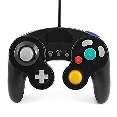 Qumox black wired classic controller joypad gamepad for nintendo gamecube gc & wii (Turbo Slow Feature) by QUMOX
