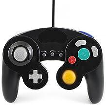 QUMOX Controlador mando de juego con cable clásico joypad gamepad para nintendo gamecube gc y wii, Negro ( función turbo lenta )